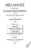 Mélanges posthumes d' Adam Mickiewicz