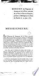 Mémoire des négoçiants & armateurs de la pêche nationale de la ville & port de Nieuport, présenté à Messeigneurs les Etats de Flandre le 19 juin 1787