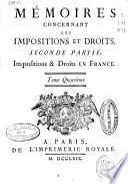 Mémoires concernant les impositions et droits