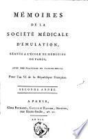 Mémoires de la Société médicale d'émulation, séante à l'Ecole de médecine de Paris