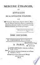 Mercure étranger ou annales de la littérature étrangère