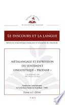 Métalangage et expression du sentiment linguistique profane