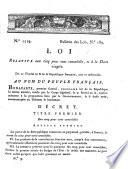 N.° 1519. Bulletin des lois, N.° 189. Loi relative aux cinq pour cent consolidés, et à la Dette viagère