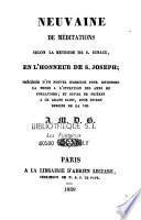 Neuvaine de méditations selon la méthode de Saint-Ignace en l'honneur de Saint-Joseph