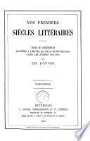 Nos premiers siècles littéraires