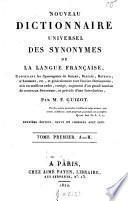 Nouveau dictionnaire universel des synonymes de la langue française