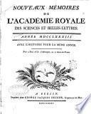 Nouveaux mémoires de l'Academie royale des sciences et belles-lettres
