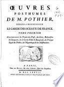 Oeuvres posthumes de M. Pothier ...