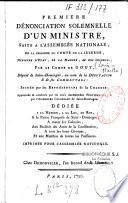 Première dénonciation solemnelle d'un ministre, fait à l'Assemblée nationale, en la personne du Comte de La Luzerne...par le comte de Gouy