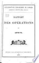 Rapport des opérations de ...