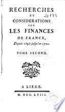 Recherches et considérations sur les finances de France
