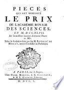 Recueil des pieces qui ont remporté les prix de l'Académie royale des sciences