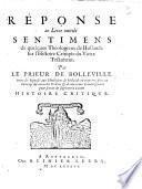 Réponse au Livre intitulé Sentimens de quelques Theologiens de Hollande sur l'Histoire Critique du Vieux Testament