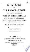 Statuts de l'Association constitutionnelle pour la défense légale des intérêts légitimes