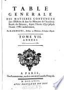 table generale des matieres contenues dans l'hiftoire & dans les memoires de l'academie royale des sciences, depuis l'annee 1751 jufqu'a l'annee 1760 inclufivement