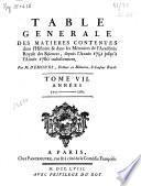 Table générale des matières contenues dans l'histoire & dans les mémoires de l'académie royale des sciences, depuis l'année 1751 jusqu' à l'année 1760 inclusivement