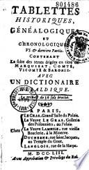 Tablettes historiques, généalogiques et chronologiques... [par Louis Chasot de Nantigny]
