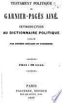 Testament politique de Garnier-Pagès ainé