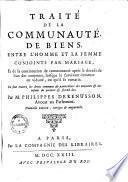 Traité de la communauté de biens, entre l'homme & la femme