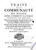 Traité de la communauté de biens, /