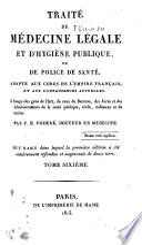 Traité de médecine légale et d'hygiène publique