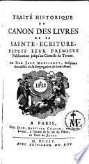 Traité histor. du canon des livres de la Ste Ecriture