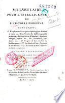 Vocabulaire pour l'intelligence de l'histoire moderne